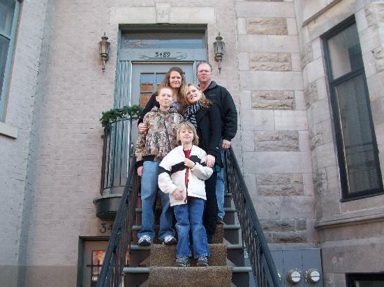 "Castel Durocher: Our family in front of our ""Montreal home"""