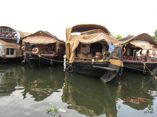 Punnamada Lake: Houseboats moored to the shore
