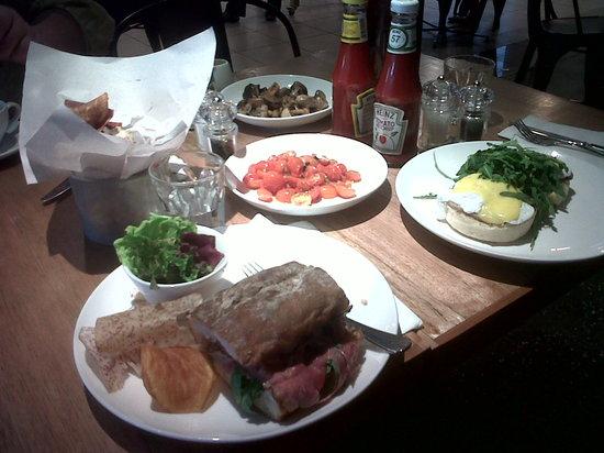 Plan B: Rare roast beef sandwich, eggs benedict, four root veg crisps (aka kerepek!), roasted tomatoes &