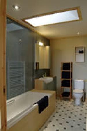 Buxa Farm Chalets & Croft House: Chalets-roomy bath with shower over tub