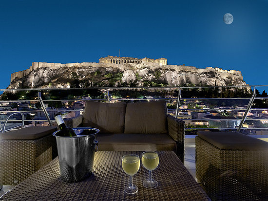 Plaka Hotel: Splendid View from Roof Terrace