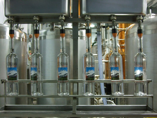 Pemberton Distillery : Schramm Vodka on the bottling line