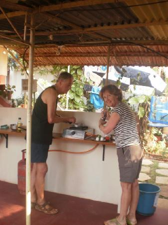 Anjuna, India: Bob and Dave inaugurating the guest kitchen