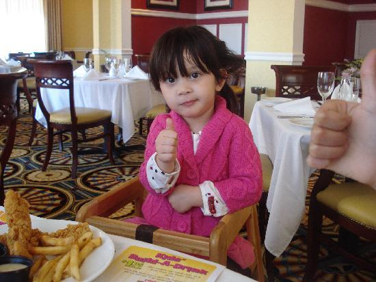1863 Restaurant: a thumbs up for her yummy lunch!