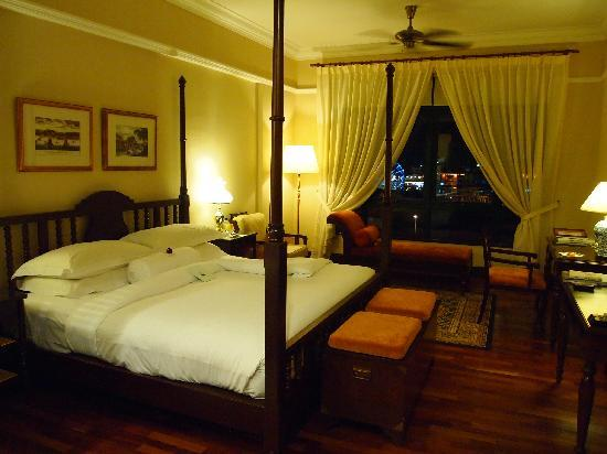 The Majestic Malacca: The room by night, and the view outside