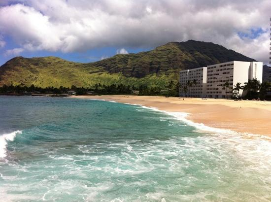 View Of The Makaha Beach Cabanas From A Nearby Mountain