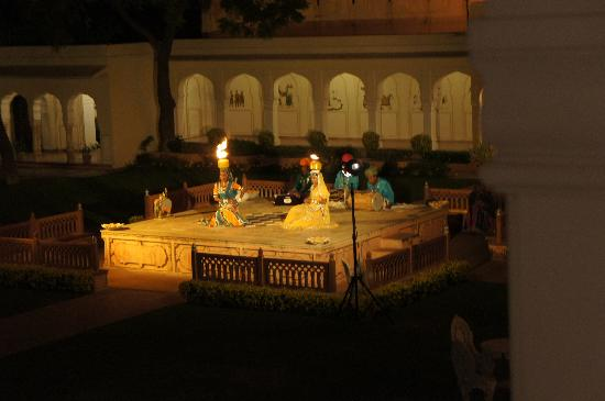 The Raj Palace Grand Heritage Hotel: The nightly view from our balcony!
