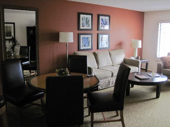 Welk Resorts Palm Springs: The living room - flat screen TV, DVD, dark modern furnishings