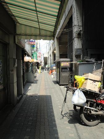 Hotel PJ Myeongdong : From main road, walk through this alley to reach hotel