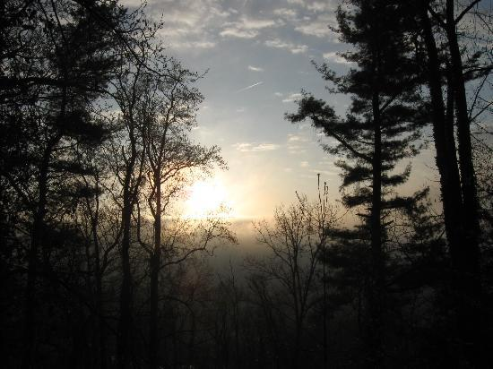 Asheville Swiss Chalets: foggy sunrise from bedroom window