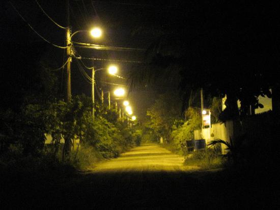 Athens Gate Beach Resort: driving into town at night