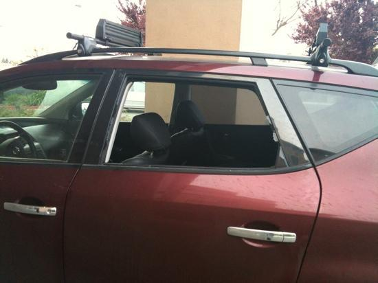 Fairfield Inn & Suites Sacramento Airport Natomas: second shot of my vandalized vehicle that was never checked on