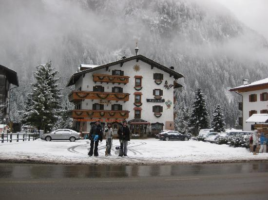 Campitello di Fassa, Italy: The view from the front of the hotel to the bus stop...