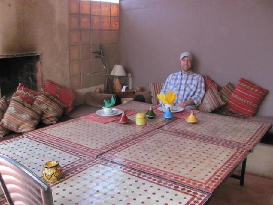 Riad Zen House: My husband getting ready for breakfast...