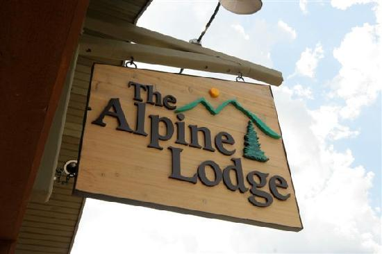 The Alpine Lodge sign