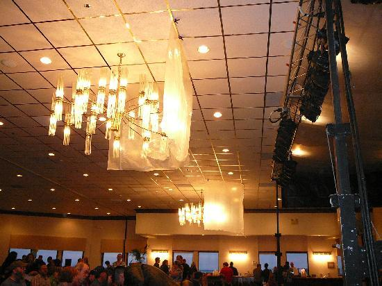 Baycenter for the Performing Arts: Chandelier at Bay Center (covered in plastic for Gallagher show)
