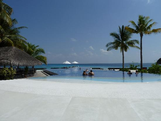 Kuramathi Island Resort: Lovely pool but no sun loungers :(