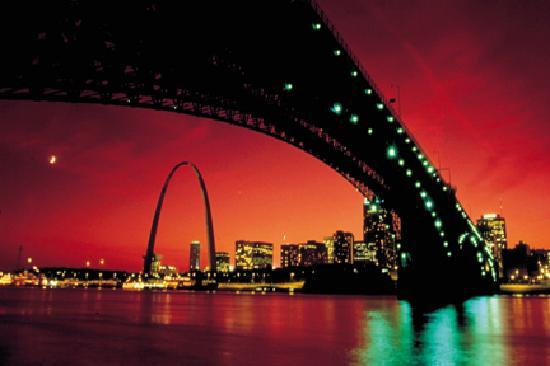Saint Louis, MO: The downtown St. Louis skyline from under the Eads Bridge