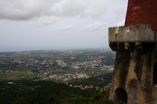 Overlooking the town of Sintra from the  Pena Castle in Sintra, Portugal