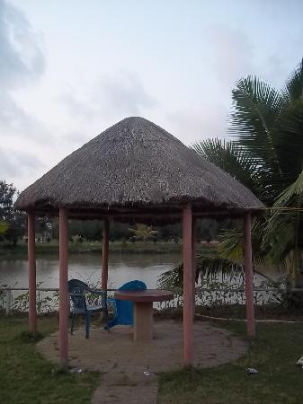 One of the sitting areas arround the pond in Tarangamala, Mandarmoni