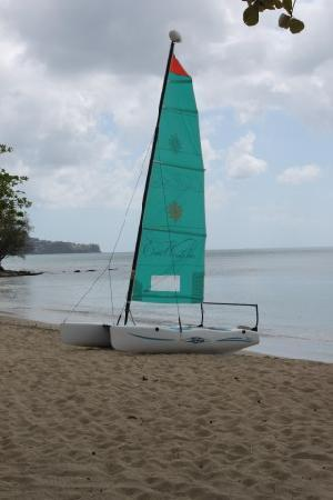 Beach and Sailboat at East Winds Inn, Gros Islet