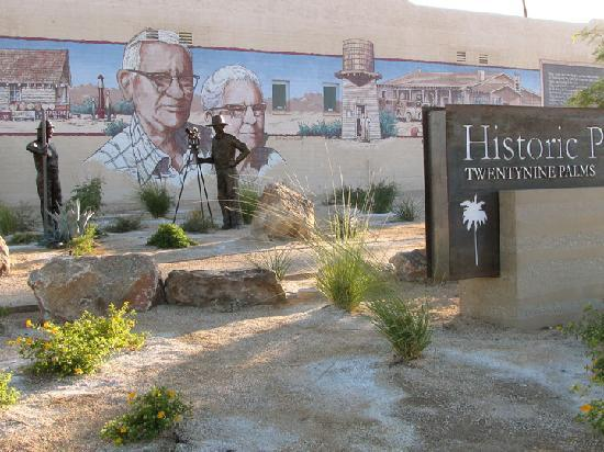 Historic Plaza mural and bronze statues, Twentynine Palms