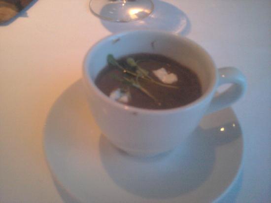 Harvey Nichols Fourth Floor Restaurant: amouse bouche (black bean soup?)