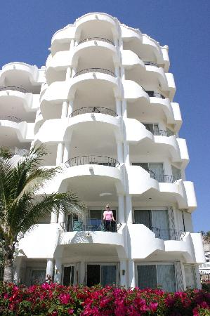 Mykonos Condos: My wife on our the deck of 205C