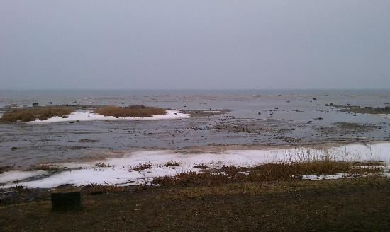 Harbor Beach, MI: BRRRR! Lake Huron doesn't look very fun now! Still snow!