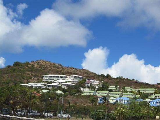 Alizea is the highest building on the hill north of Orient Beach