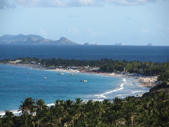 Alizea: View of Orient Beach from the balcony with St. Barths on the horizon.