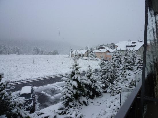 panorama dalla finestra dell'hotel Europa a St. Motitz