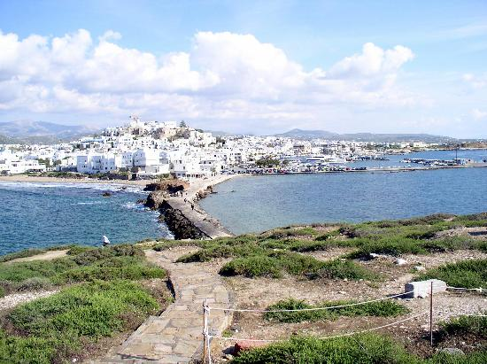 Ciudad de Naxos, Grecia: Blick von der Portara auf Naxos Stadt