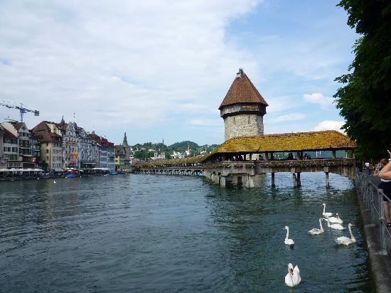 لوزيرن, سويسرا: ponte coperto con torre dell'acqua