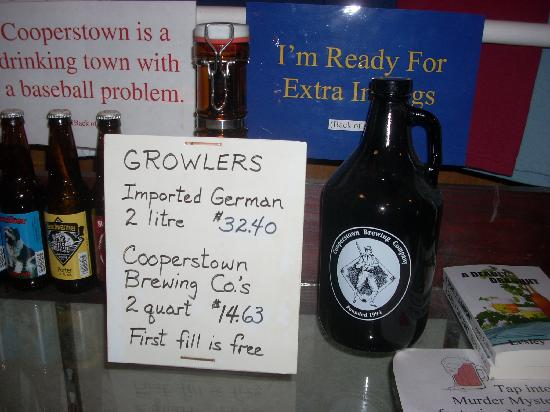 Cooperstown Brewing Company: You can buy larger sizes of each beer called growlers.
