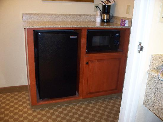 Country Inn & Suites by Radisson, Crestview, FL : View of Amenities :   Rectangle Fridge with small Freezer, Micro, and Coffee maker