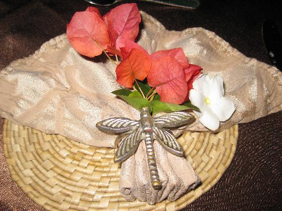 Asian Jewel Boutique Hotel: Table setting-Dragonflies are the Asian Jewel