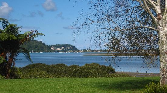 Peninsula Waterfront Retreat: The lawn and view from the apartment