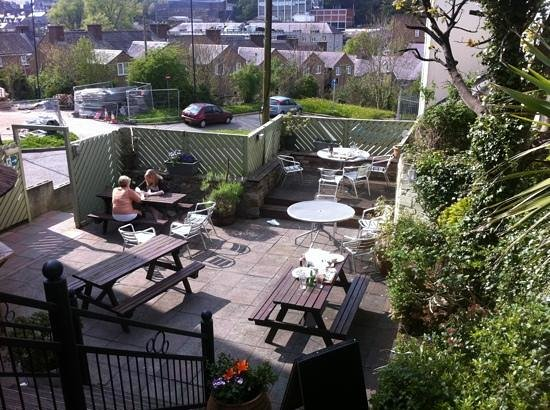 The Feral Cat: the back patio of the fat cat, Bangor