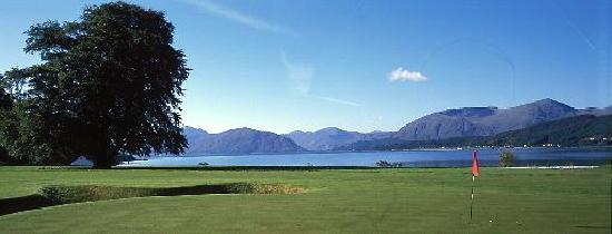 The Dragons Tooth Golf Course: The view from the 8th green with the Ardgour hills in the back ground