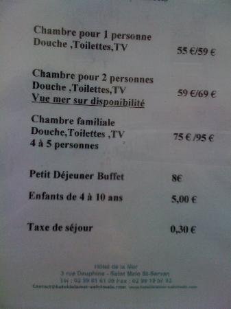 Hotel de la Mer : お値段
