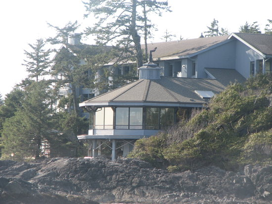 Wickaninnish Inn and The Pointe Restaurant: looking back at the Inn from the beach