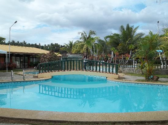 Biliran Garden Resort: My fiance over the pool bridge