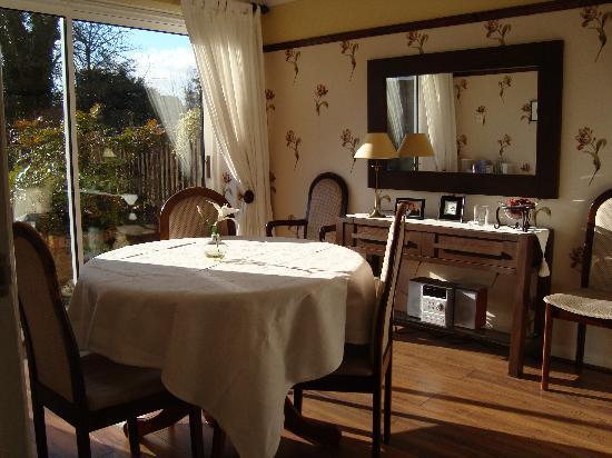 Sue Simmons Bed & Breakfast: The breakfast room overlooking the garden.