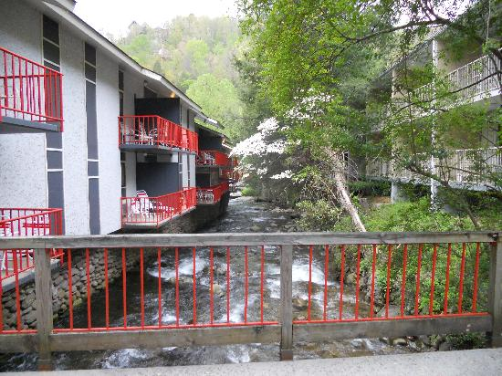 Zoders Inn & Suites: View of creek from footbridge