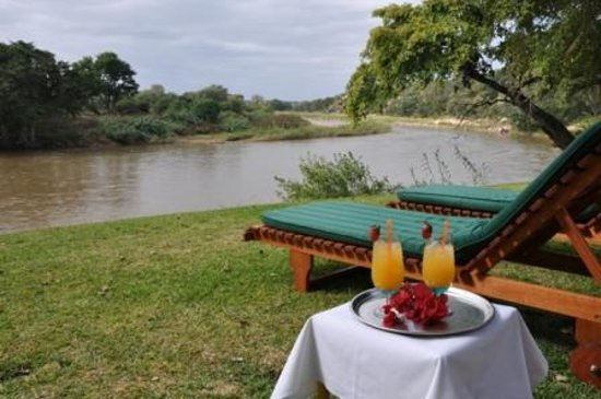 Singwe River Lodge: Relax at the poolside with a drink overlooking the mighty Olifants river -- who knows -- you may