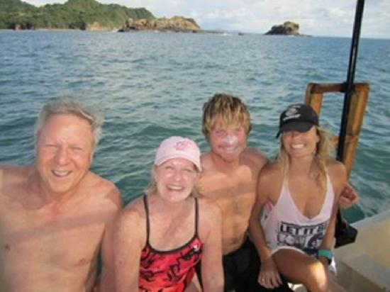 Dale Dagger Surf Lodge: Me, my wife, owner's Ben and Kassidy, on one their boats