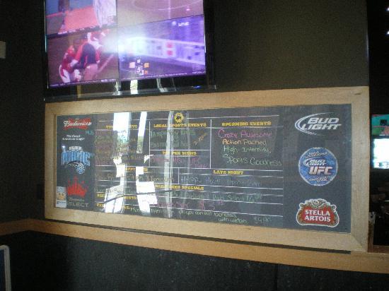 Buffalo Wild Wings: Events Board Inside The Door