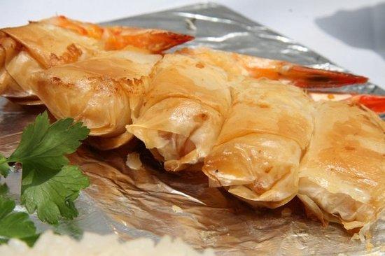L'Atelier: shrimp in pasta fillo