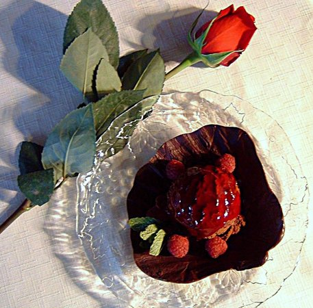 An award-winning dessert at the 1785 Inn -- Chocolate Mocha Mousse with Raspberry Sauce